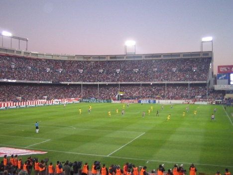Atletico Madrid stadium at night