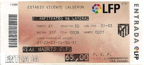 Ticket to the 2007 Madrid derby between Real and Atletico Madrid