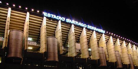 Real Madrid, Santiago bernabeu stadium lit up from the outside
