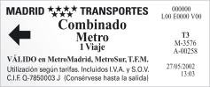 Madrid Metro example ticket