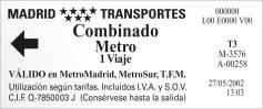 Madrid Metro example ticket