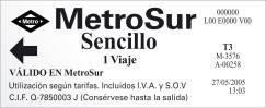 Madrid metroSur ticket