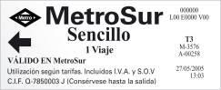 Madrid metroSur ticket