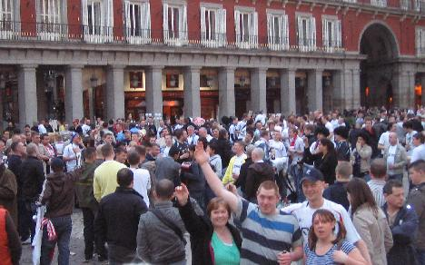 Bolton fans in Plaza Mayor