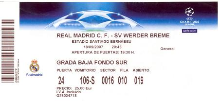 Real Madrid ticket 2008 Champions League