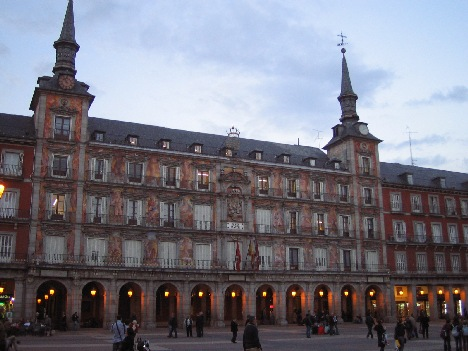 Plaza Mayor decorated facade of the present day