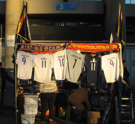 Real Madrid merchandise vendors outside the stadium