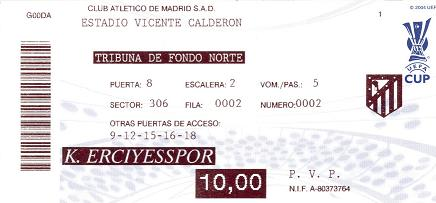 Atletico madrid ticket uefa cup 2008