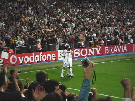 Real Madrid star Raul being congratulated on his goal