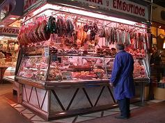 A typical Spanish butchers displaying Jamon