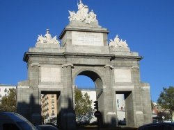 Puerta de Toledo, Madrid monuments, in the winter sun.